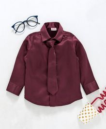 Babyhug Full Sleeves Party Shirt With Tie - Maroon