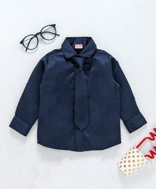Babyhug Full Sleeves Party Shirt With Tie - Navy Blue