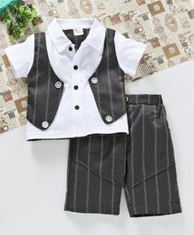 Bingo Boom Shirt With Attached Striped Jacket & Shorts Set - Grey