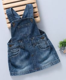 Kiabi Solid Print Denim Dungaree Dress - Blue