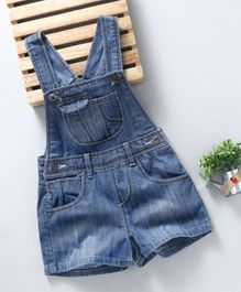 Kiabi Solid Print Dungaree With Front Pockets - Blue