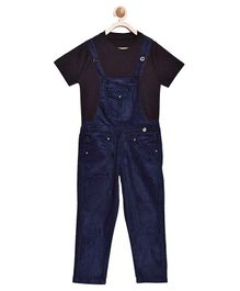 FirstClap Full Length Dungaree And T-Shirt for Kids - Dark Blue & Black