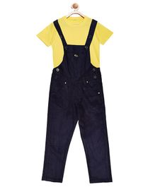 FirstClap Full Length Dungaree And T-Shirt for Kids - Dark Blue & Yellow