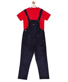 FirstClap Full Length Dungaree And T-Shirt for Kids - Dark Blue & Red