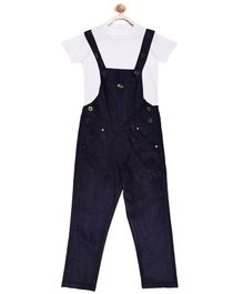 FirstClap Full Length Dungaree And T-Shirt for Kids - Dark Blue & White