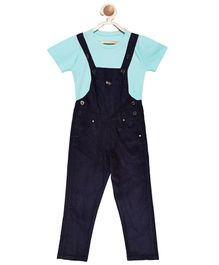 FirstClap Full Length Dungaree And T-Shirt for Kids - Dark Blue and SkyBlue