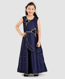 Babyhug Embroidered Ethnic Wear Sleeveless Gown With Stud Detailing - Navy Blue
