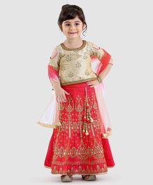 Babyhug Cold Shoulder Choli And Lehenga With Dupatta - Golden Coral