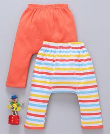 Babyhug Full Length Solid & Striped Cotton Diaper Leggings Pack of 2 - Orange