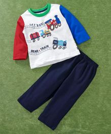 Zero Full Sleeves Tee And Lounge Pant Engine Patch - Red Blue