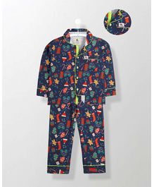 Cherry Crumble California Casual Printed Nightsuit - Navy Blue