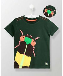 Cherry Crumble California Insect Applique Tee - Dark Green