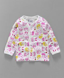 Pink Rabbit Full Sleeves Vest Little Bunny Print - Pink White