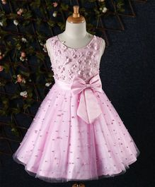 Fashion Collection By Meggie Flower Applique Dress - Pink