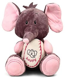 Starwalk Cute Elephant Plush With Ball Soft Toy Brown Pink - Height 27 cm