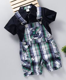 UKY Kids Solid Shirt & Checks Dungaree Set - Black & Green