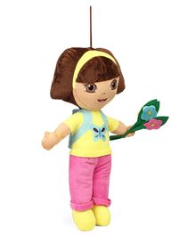 Dora Plush Soft Toy With Flower and Loop Pink Yellow - Height 45 cm