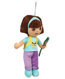 Dora Plush Soft Toy With Flower and Loop Blue Violet - Height 45 cm