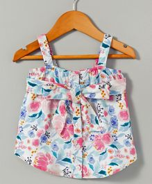 Hugsntugs Singlet Top With Front Tie Knot Bow Floral Print - White Blue