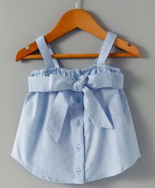 Hugsntugs Singlet Top With Front Tie Knot Bow - Blue