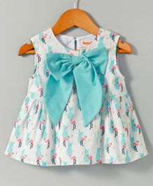 Hugsntugs Sleeveless Top With Fancy Bow Applique Flamingo Print - White Blue