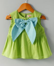 Hugsntugs Sleeveless Top With Fancy Bow Applique - Green Blue