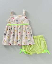 Hugsntugs Singlet Sleeves Top With Shorts Owl Print - Green