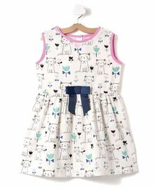 Crayonflakes Sleeveless Cat Print Dress - White