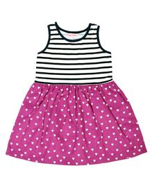 Crayonflakes Sleeveless Hearts & Striped Printed Frock - Pink Black