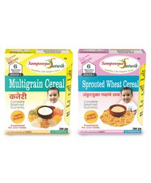 Sampoorna Satwik Combo Multigrain Stage 1 & Sprouted Wheat Cereal Pack of 2 - 200 gm each