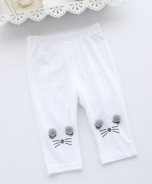 Pre Order - Awabox Kitty Face Leggings - White