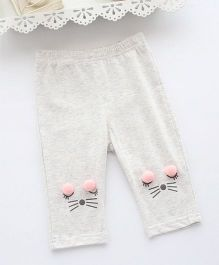 Pre Order - Awabox Kitty Face Leggings - Grey