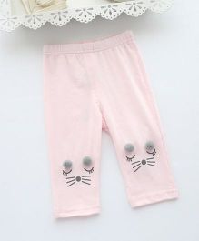Pre Order - Awabox Kitty Face Leggings - Pink