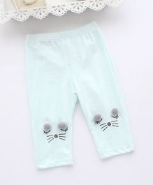 Pre Order - Awabox Kitty Face Leggings - Light Blue