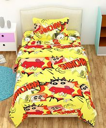 The Intellect Bazaar Single Bed Sheet With Pillow Cover Shin-Chan Print - Yellow