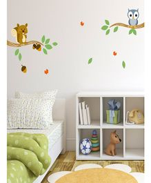Asian Paints Owl Squirrel & Branch Wall Sticker - Multi Color