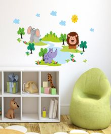 Asian Paints Kids Jungle Animals Peel & Stick Wall Sticker - Multi Color