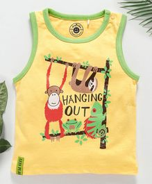 Jus Cubs Animal Printed Sleeveless T-Shirt - Yellow
