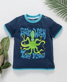 Jus Cubs Octopus Printed T-Shirt - Blue