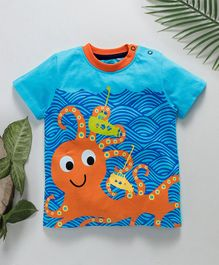 Jus Cubs Octopus Printed Round Neck T-Shirt - Blue