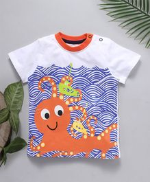 Jus Cubs Octopus Printed Round Neck T-Shirt - White