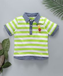 Jus Cubs Striped Polo T-Shirt - Green