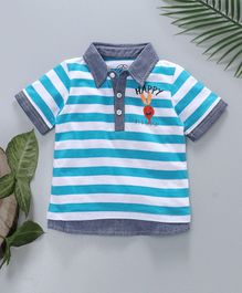 Jus Cubs Striped Polo T-Shirt - Blue