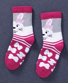 Mustang Quarter Length Socks Bow & Bunny Design - Pink White