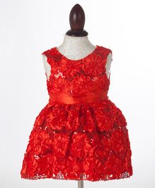 Whitehenz Clothing Floral Applique Party Dress - Red