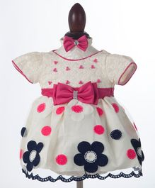 Whitehenz Clothing Bow Applique Party Dress With Headband - Pink