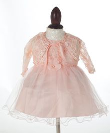 WhiteHenz Clothing Lace Work Dress With Jacket - Light Peach