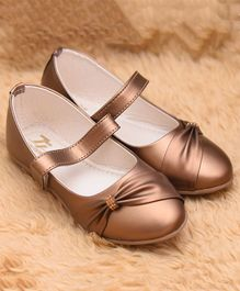 77 Seventy Seven Party Wear Classic Ballerinas Shoes Bow Design - Copper