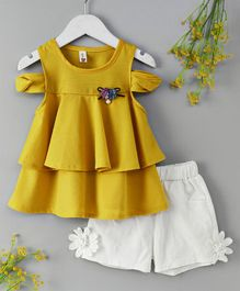 WSD Flower Applique Top & Shorts Set - Yellow & White