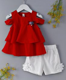 WSD Flower Applique Top & Shorts Set - Red